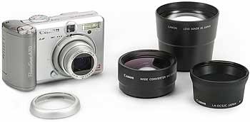 Canon PowerShot A70 mit Konvertern und Adapter [Foto: MediaNord]