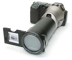Olympus Flash Film Scanner 35 an Canon PowerShot Pro70 [Foto: MediaNord]