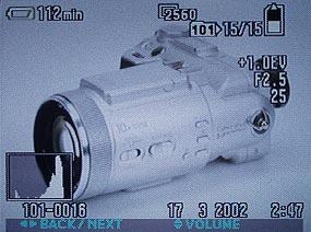 Sony DSC-F717- Bildschirmanzeige mit Histogramm [Foto: MediaNord]