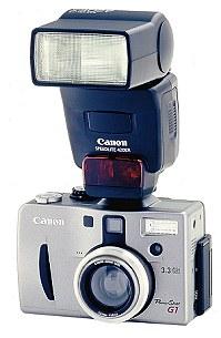 Canon PowerShot G1 mit Blitzgerät Speedlite 420EX [Foto: Canon]