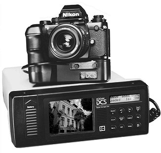 Kodak DCS-100 auf Nikon-F3-Basis und mit DSU-Einheit [Foto: Kodak]