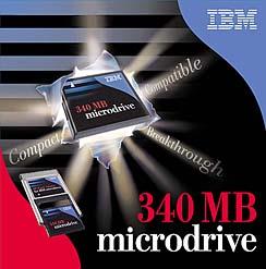 Verpackung des IBM microdrive 340 MB