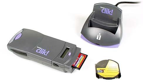 Iomega Clik! Laufwerk mit Kartenleser, Dockingstation und Clik!-Medium [Foto: MediaNord]