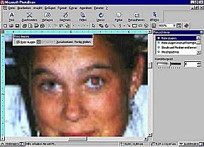 """Die Beseitigung des """"Rote-Augen-Effekts"""" ist mit PhotoDraw 2000 einfach zu handhaben. Allerdings versagt das Programm bei Aufnahmen von Brillenträgern!"""