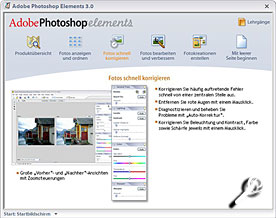 Adobe Photoshop Elements 3 Startbildschirm [Screenshot: MediaNord]