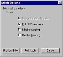 Stitch Optionen