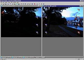 Fenster, in dem Sie die zusammen gehörenden Bildpunkte der aufeinanderfolgenden Bilder markieren müssen.