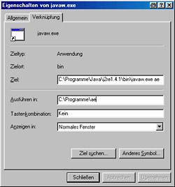Advanced Explorer - Pfadangaben für die Verknüpfung [Screenshot: Photoworld]