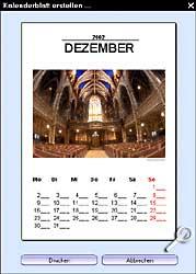Cerasus Gallery - fertiges Kalenderblatt für einen Monat [Screenshot: Photoworld]