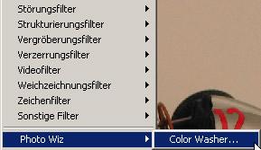 ColorWasher im Filtermenü von Photoshop [Screenshot: Photoworld]