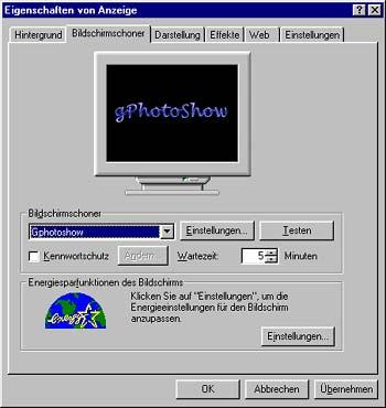 gPhotoShow - Eigenschaften der Bildschirmanzeige [Screenshot: Photoworld]