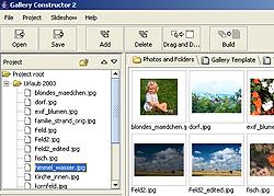 Gallery Constructor - Ausschnitt aus Arbeitsoberfläche [Screenshot: Photoworld]
