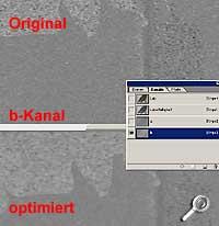 blau-gelber b-Kanal [Screenshot: PhotoWorld]