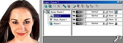 Paint Shop Pro 8 Beta-Version - Einstellungsebene [Screenshot: Photoworld]