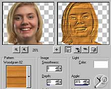 Paint Shop Pro 8 Beta-Version - Effekt Holzschnitt [Screenshot: Photoworld]