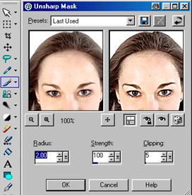 Paint Shop Pro 8 Beta-Version - unscharf maskieren [Screenshot: Photoworld]