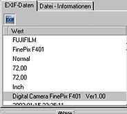 Aquasoft PhotoFlash - EXIF-Daten [Screenshot: Photoworld]