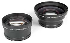 Telekonverter Canon TC-DC58 und Weitwinkelkonverter Canon WC-DC58 [Foto: MediaNord]
