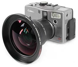 Canon PowerShot G1 mit Weitwinkelkonverter Olympus WCON-08 [Foto: MediaNord]