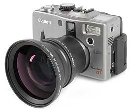 Canon PowerShot G1 mit Weitwinkelkonverter WC-DC58 [Foto: MediaNord]