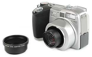 Epson PhotoPC 850Z mit Vorsatzobjektivadapter [Foto: MediaNord]