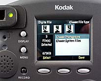 "Kodak DC290 Detail LCD-Monitor mit Dateimanager ""Digita File"""