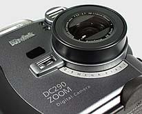 Kodak DC290 Detail Objektiv und Autofokus-Sensor [Foto: MediaNord]