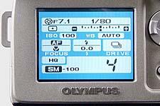 Olympus C-2500L Anzeige der Aufnahmedetails auf dem LCD-Monitor