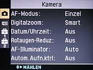Sony DSC-W1- Menü 1 [Foto: MediaNord]