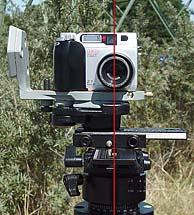 Kameransicht von Vorne mit eingezeichneter Drehachse