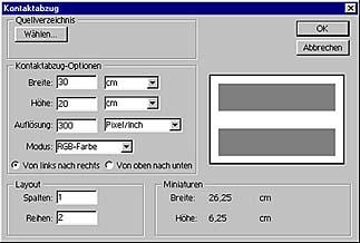 Kontaktabzug-Funktion in Adobe Photoshop