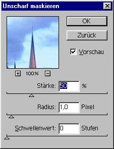 Unscharf maskieren Funktion in Adobe Photoshop