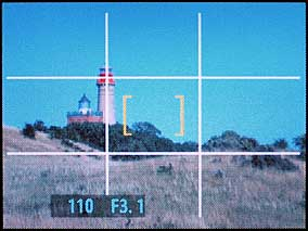 Monitorbild der Fujifilm FinePix S7000 mit eingeblendetem Gestaltungsraster [Foto: MediaNord]