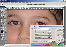 Korrektur Roter Augen - Arbeitsoberfläche Photoshop [Screenshot: MediaNord]