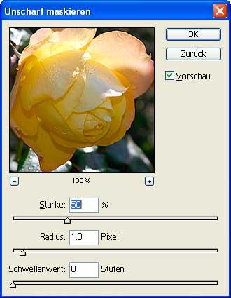 """Filter """"Unscharf maskieren"""" in Photoshop [Screenshot: MediaNord]"""